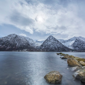 Searocks by Benny Høynes - Landscapes Waterscapes ( canon, clouds, moon, rovks, sea, night, norway )