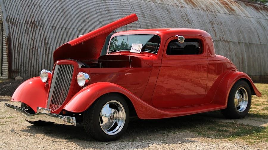 by Kathy Jo Drake - Transportation Automobiles ( car, red, vintage, car show, antique )
