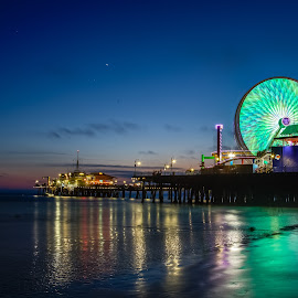 Santa Monica Pier at Dusk by Vamsi Sata - City,  Street & Park  Night ( santa monica, pier, pacific park, ocean, dusk )