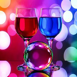 Soft Spots by Sam Sampson - Artistic Objects Glass ( spots, reflection, pattern, glasses, colorful )