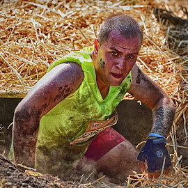 The End Of Horror ¨ by Marco Bertamé - Sports & Fitness Other Sports ( amnéville, straw, dust, fluo, yellow, climbing out, the mud day, horror, tunnel )