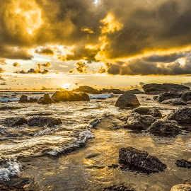 Sunrise in Buraco Beach by Rqserra Henrique - Landscapes Beaches ( sunrise, rocks, beach, golden, clouds, splash, rqserra )