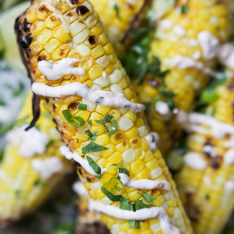 Grilled Corn on the Cob with Creamy Roasted Jalapeno Sauce