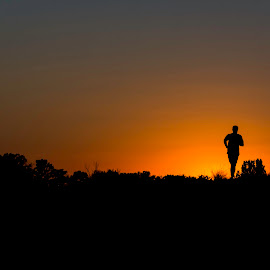 The Running Man by Nenad Borojevic Foto - Sports & Fitness Running ( sunset, silhouette, silhouettes, running, man )