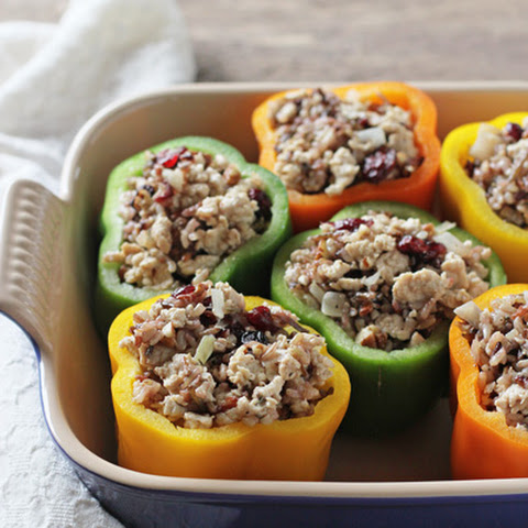 Turkey, Wild Rice and Cranberry Stuffed Peppers
