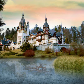 Sinaia by Anna Anastasova - Digital Art Places ( blue, digital art, castle, digital, wonderful )