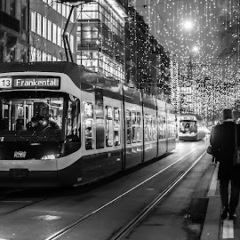 Christmas Rush hour by Philipp Weimer - Black & White Street & Candid ( black and white, switzerland, tram, bahnhofstrasse, zürich, street photography )