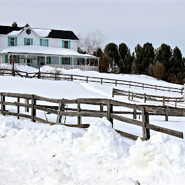 House and barn. by Peter DiMarco - Buildings & Architecture Homes ( home, building, buildings, house in snow, house )