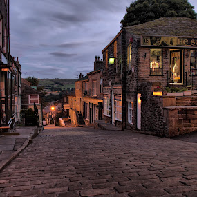 Haworth Village High Street by Sandra Cockayne - City,  Street & Park  Street Scenes ( cobbles, urban, haworth, village, bronte sisters, cobbled street, street, sandra cockayne, cityscape, quaint village, haworth high street, bronte,  )