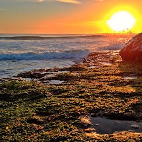 Last Warmth by Derek Gibbins - Instagram & Mobile iPhone ( sand, cliffs, sunset, ocean, beach, rocks )