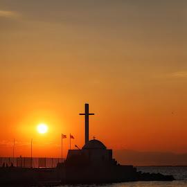 Sunset by the sea by Giannis Paraschou - Landscapes Sunsets & Sunrises ( landscape photography, seascape, golden hour, church, sunset, cross, sushi, sea, landscape, canon )