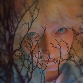 Seeing The Forest Thru The Trees  by Caroline Flaherty - Digital Art People ( double exposure, quote, trees, self portrait, people,  )