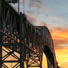 Good Morning Port Huron by Daniel Scott Jr - Buildings & Architecture Bridges & Suspended Structures ( work, water, buildings i worked on, port huron, photograph, sky, port huron blue water bridge, transportation, architecture, sunrise, bridge )