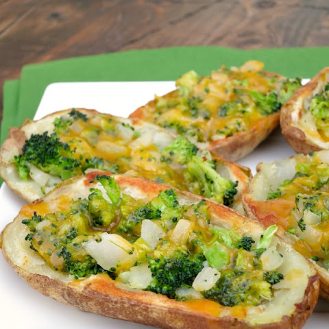 Broccoli Cheddar Stuffed Potato Skins