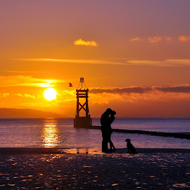 romance in the sunset by Susan Davies - Digital Art Places ( tranquil, sea, silhouettes, couple, dog, people, romance )