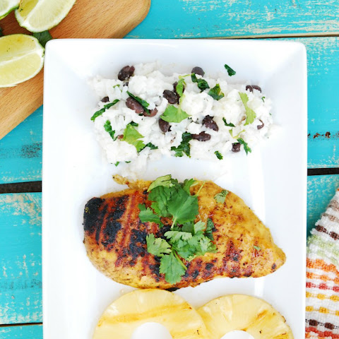 Grilled Island Chicken with Lime, Cilantro and Coconut Rice & Beans (GF, DF, Egg, Peanut, Tree nut Free)
