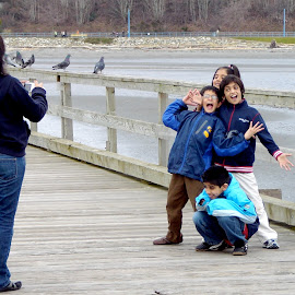 Posing at the Pier, White Rock, BC by Campbell McCubbin - People Family ( family, pier, kids, white rock, posing )