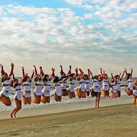 Exuberance! by Dee Haun - Instagram & Mobile iPhone ( synchronized jump, georgia, candid, tybee beach, beach, 180711t2772ce1, female, people, cheer leaders, iphone,  )