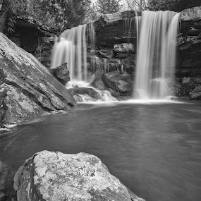 Twin Falls, Valley Falls SP by Jason Lemley - Landscapes Waterscapes ( water, waterfalls, black & white, landscapes, spring, twin falls )