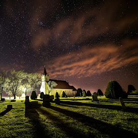Stockholm Church and Swedish Cemetery by Zach Hanson - Landscapes Starscapes ( stary sky, church, cemetery, night time, nebraska )