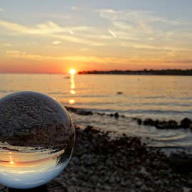 sunset on the sea in a glass sphere by Patrizia Emiliani - Artistic Objects Glass ( glass sphere, sunset, sea, light, sun,  )