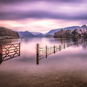 The open gate to tranquility by Andy Young - Landscapes Waterscapes ( uk, sunset, reflections, long exposure, derwent water, lake district, gate )