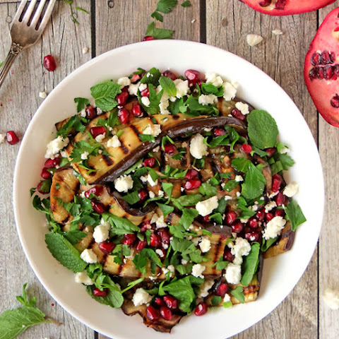 Grilled Eggplant Pomegranate Salad