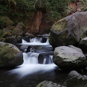 Small waterfall, large boulders by Larry Chipman - Landscapes Waterscapes (  )