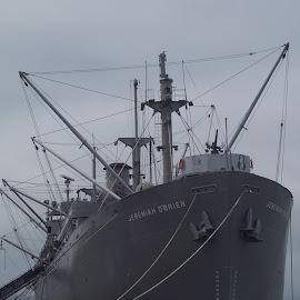 Ship by Sandy Stevens Krassinger - Transportation Boats ( anchors, crows nest, ship, gray, boat )
