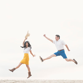 Happy jumping coz we're engaged by Yansen Setiawan - Wedding Other ( levitation, happy, wedding, engaged, jump, engagement )