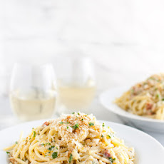 Spaghetti Carbonara with Crab and Meyer Lemon