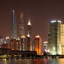 Shanghai waterfront night by Stanley P. - Buildings & Architecture Office Buildings & Hotels ( night, architecture )