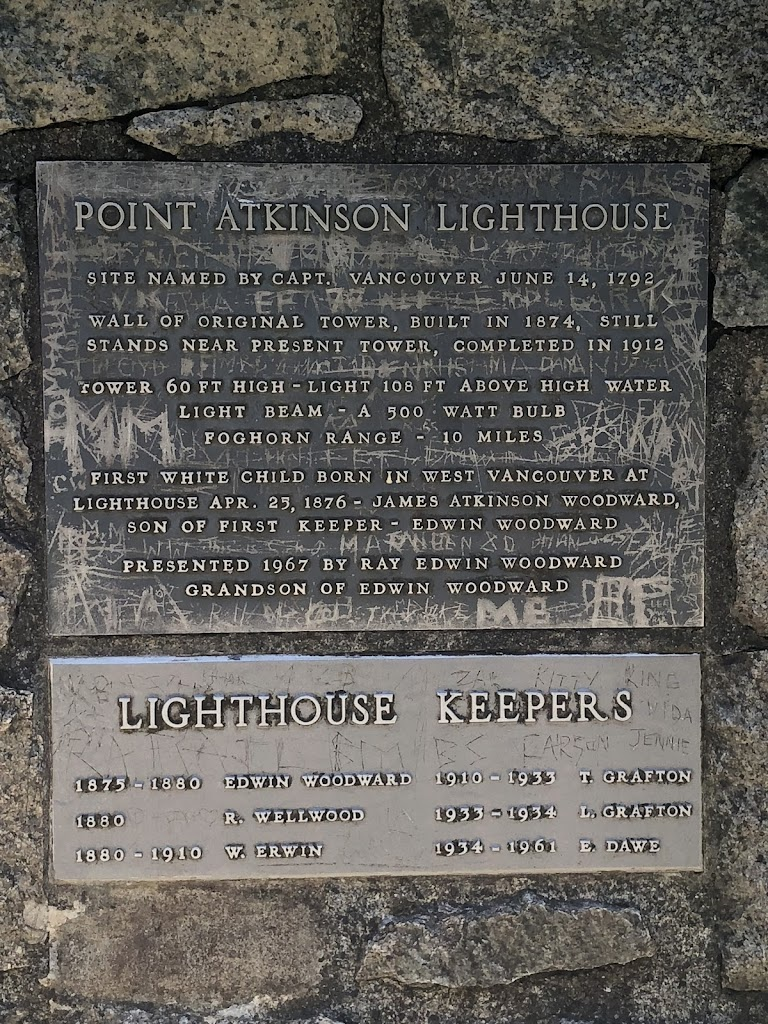 POINT ATKINSON LIGHTHOUSE Site named by Capt. Vancouver June 14, 1792.  Wall of original tower, built in 1874, still stands near present tower, completed in 1912. Tower 60 ft high - light 108 ft ...