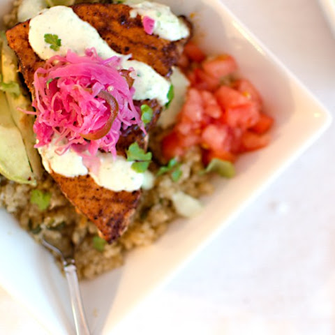Fish & Quinoa Bowls with Cilantro-Lime Sauce