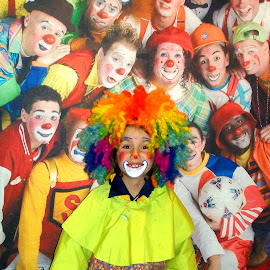 Circus Clowns by Kristine Nicholas - Novices Only Portraits & People ( child, wig, faces, colorful, colors, face paint, children, wigs, boy, circus, kid )