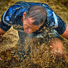 Standing Up ! by Marco Bertamé - Sports & Fitness Other Sports ( water, splatter, splash, kneeling, waterdrops, soup, muddy, strong, standing up, blue, drops, brown, no eyes, strongmanrun, man )