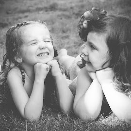 Ray and Madelyn by Jenny Hammer - Babies & Children Children Candids ( girls, best friends, black and white, bffs, kids, cute )