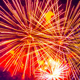 Symphony by Cory Bohnenkamp - Abstract Fire & Fireworks ( abstract, sky, fireworks, night, fire, city )