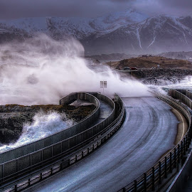Storm by Jan Helge - Landscapes Weather ( water, bridge, storm, atlantic road, norway )