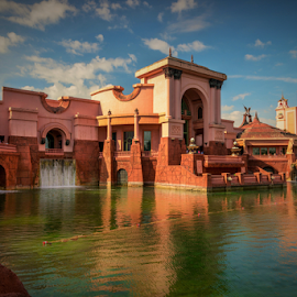 Atlantis Park by Joseph Law - City,  Street & Park  City Parks ( ponds, blue sky, waterfall, buildings, reflections, city park, nasau, bahamas, atlantis )