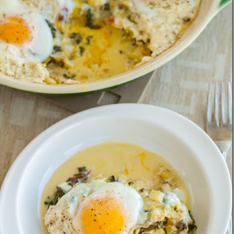 Baked Eggs with Creamy Leeks and Chard