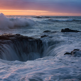 Thors Well 1 by David Kreutzer - Landscapes Waterscapes ( oregon, picture of thors well, ca, cape, sunset, wave, thors well, ocean, coastline, coastal, high tide, thor's well )