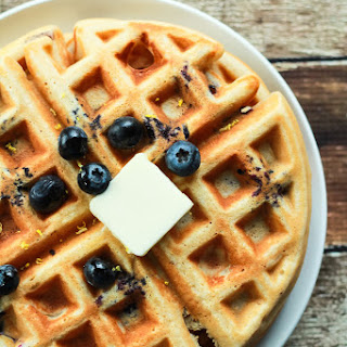Whole Wheat Lemon Blueberry Waffles