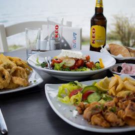 Lunch by the sea by Antony Antoniou - Food & Drink Eating ( kalamari, dining, sea, lunch, cyprus )