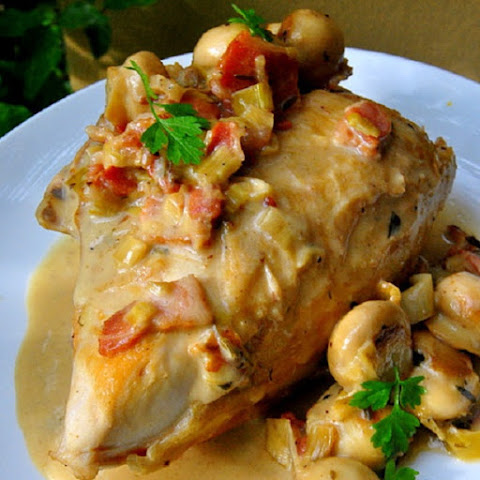 Oven Baked Chicken and Bacon with Wine and Tarragon Sauce