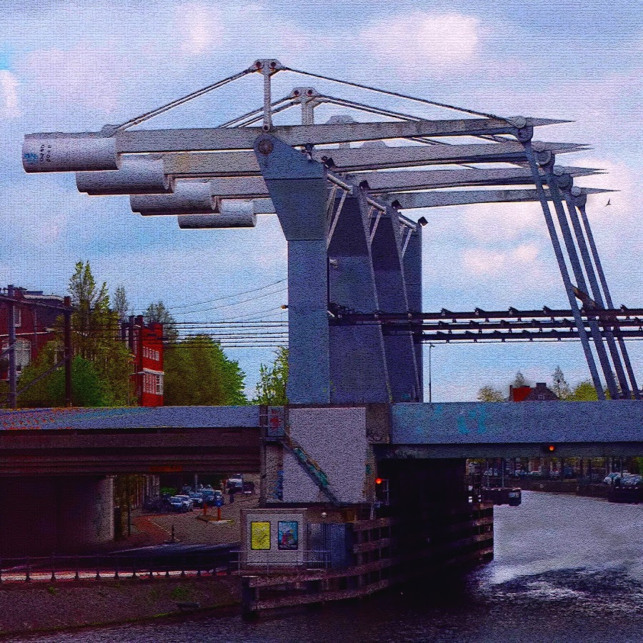 Amsterdam Lift Rail Bridge - Croquillized 2 by Dee Haun - Buildings & Architecture Bridges & Suspended Structures ( croquillized, buildings and architecture, lift bridge, 150505$0316ce2_3, amsterdam, bridge, bridges, photoshop effect, railroad bridge, netherlands )