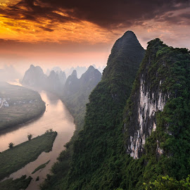 Sunrise on Lijang River by Angad R - Landscapes Sunsets & Sunrises ( water, guang xi lu, mountains, angad rekhi, nature, li river, sunrise, guangxi zhuang autonomous region, guangxi provence, guangxi, china,  )
