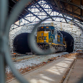 CSX Fibonacci by Aaron Krosner - Transportation Trains ( fencing, fence, north mount royal station, framing, color, csx, blue, art, freight, baltimore, train, yellow, architecture )