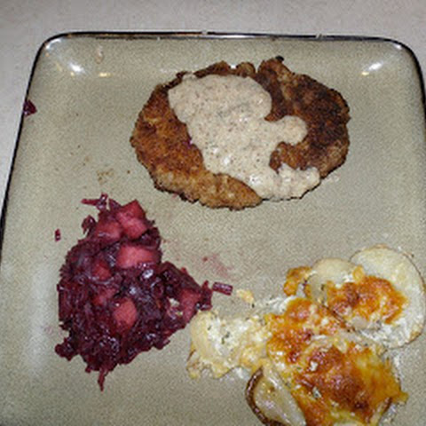 Pork Schnitzel with Red Cabbage and Potatoes