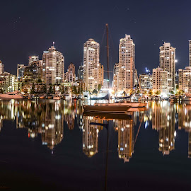 Vancouver harbour by Cory Bohnenkamp - City,  Street & Park  Skylines ( skyline, boats, vista, buildings, night, vancouver, city )